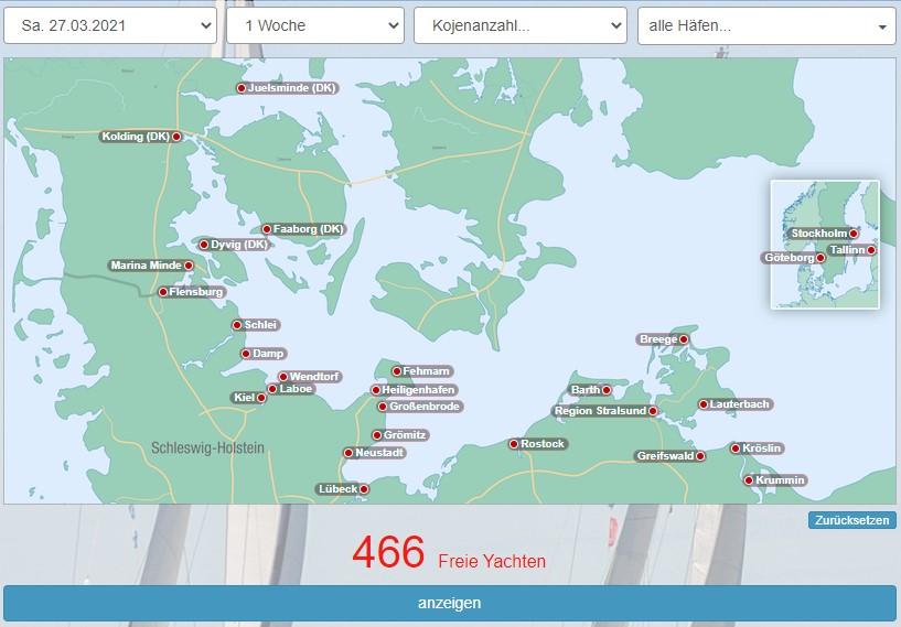 Yachtsuche gesamte Ostsee
